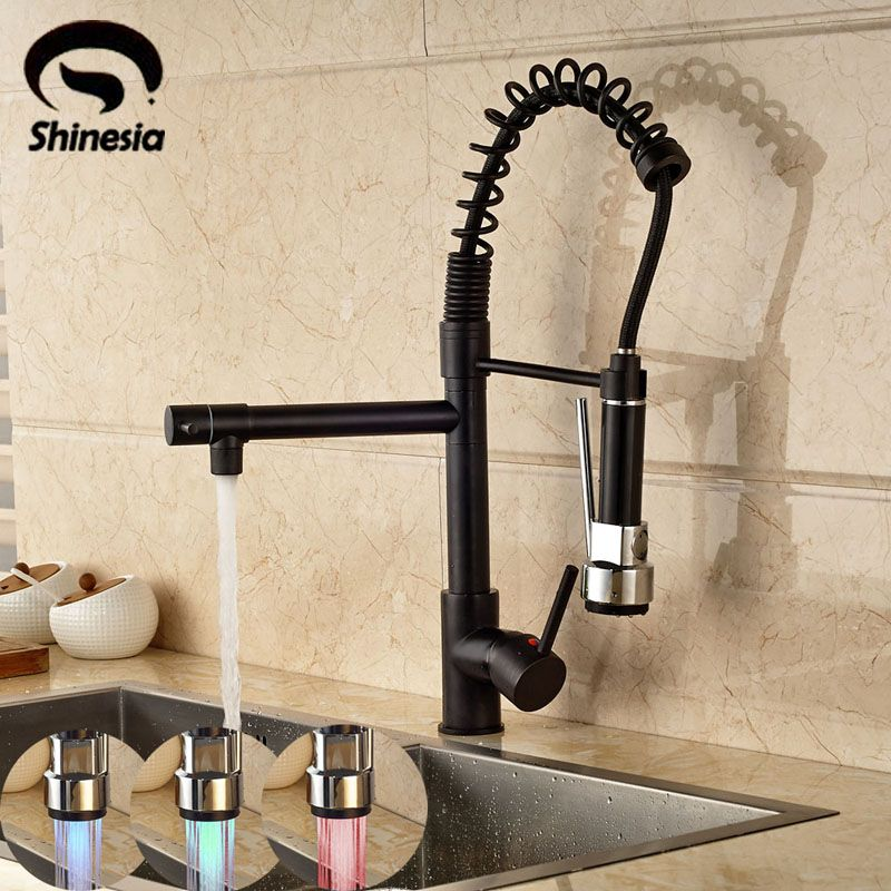 LED 3 Colors changing Pull Out Kitchen Faucet 360 Degree Rotating Vessel Sink Mixer Tap Oil Rubbed Bronze