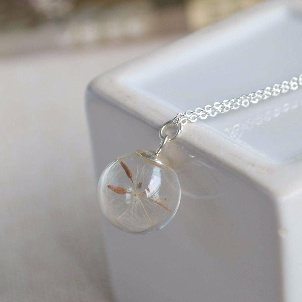 Одуванчик семян Желание реального цветок стеклянный шар 925 стерлингового серебра цепи себе Ожерелье Женщины колье Модные Винтажные Boho