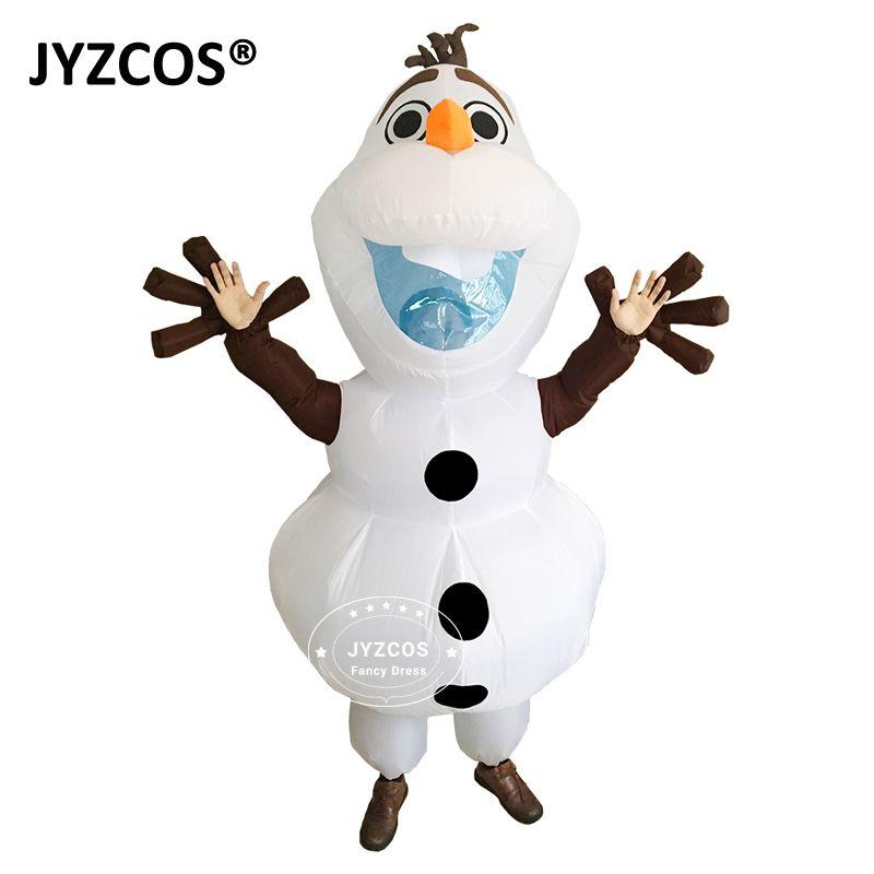 JYZCOS Olaf bonhomme de neige Costumes pour femmes hommes adulte pourim Halloween gonflable noël éruption Anime Cosplay fantaisie habiller mascotte