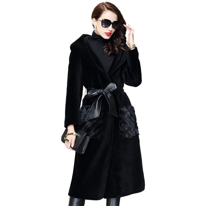 Winter Coat Women Clothes 2018 Real Fur Coat Sheep Shearling Fur Korean Wool Jacket Mink Fur Pocket Elegant Long Coats ZT855
