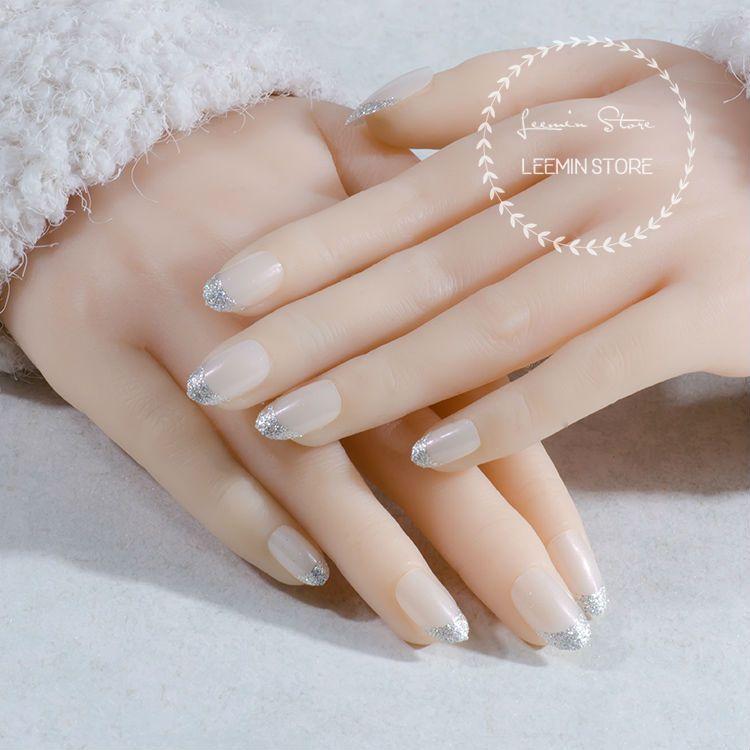 Prinzessin gefälschte nägel runde französisch nägel hochwertigen silber pulver falsche nägel
