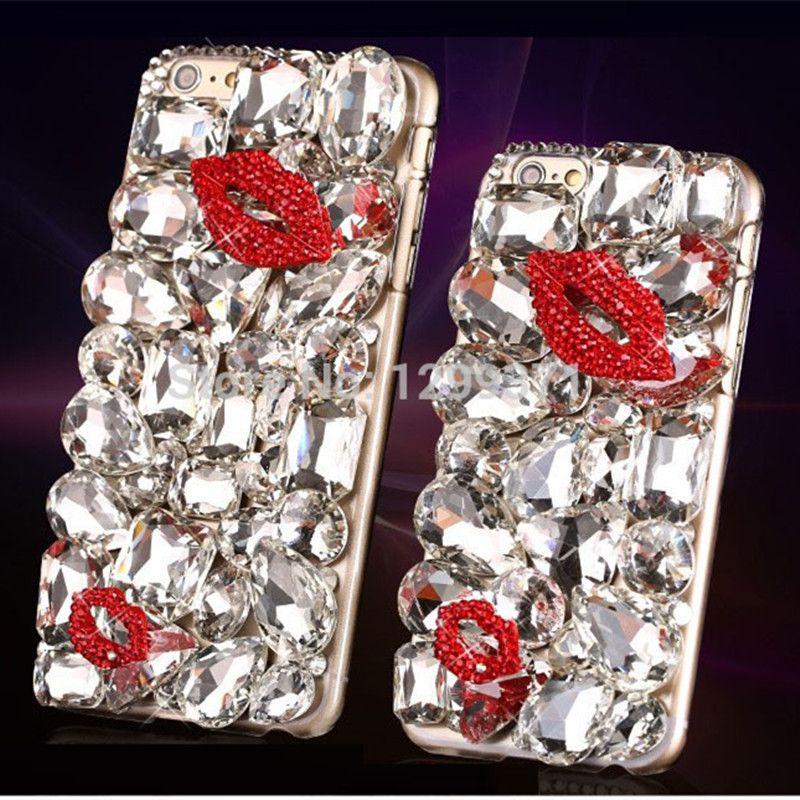 Bling diamant rouge lèvre baiser housse pour Iphone XS Max XR X 8 7 6 6 S Plus 5 5 S Samsung Galaxy Note 9 8 5 4 3 S9/8/7/6 Edge Plus