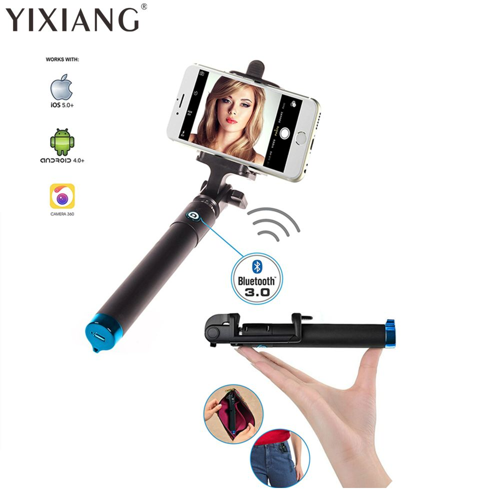 YIXIANG Extensible Poche Selfie Bâton Manfrotto Trépied pour Iphone 8 7 6 Plus X Samsung Note 5 S6 Pau De auto Perche Selfies