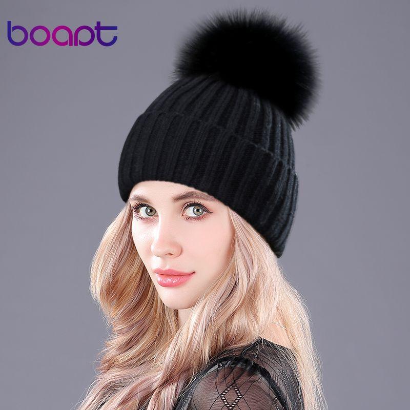 [boapt] Warm Natural Raccoon Fur Hats for Women Knitted Braid Beanie Female Caps Pompon Headgear Winter Girl Lady Skullies Hats