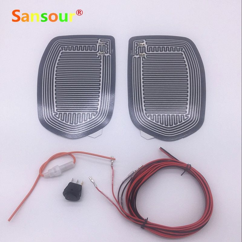 Sansour Car Mirror Glass Heated Pad Mat Defoggers Remove Frost Fit Most DC 12V Vehicle Side Mirror Glass Heat Heated Pad x 2pcs