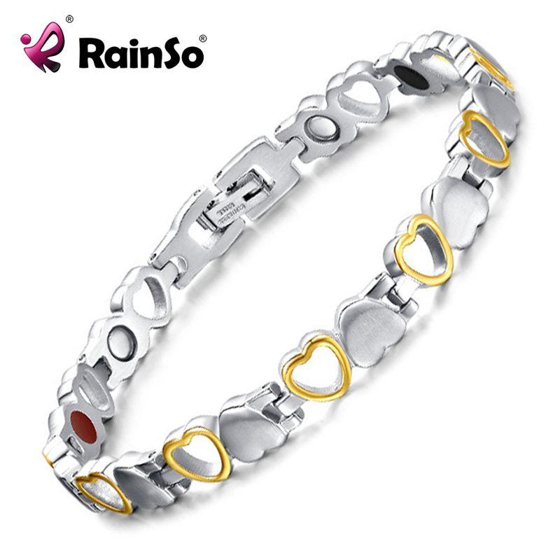 Rainso Mode Bracelet D'énergie Saine conception Cœur En Acier Inoxydable Soins de Santé Magnétique Bracelet En Or Chaîne de Main Pour Les Femmes