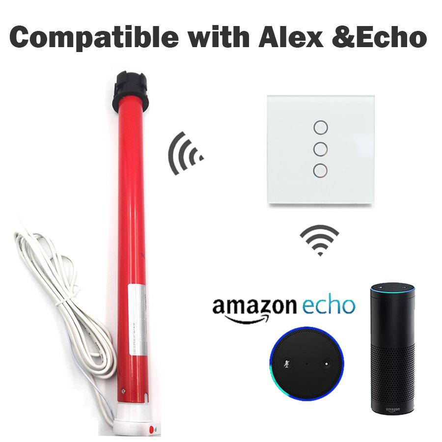 Alexa echo or google home assistant voice control app control 25mm Automatic Electric Roller for 38mm tube Blinds Shutters kit
