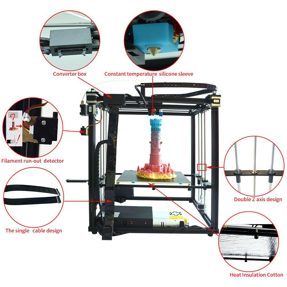 Heißer verkauf X5SA-400 desktop 3d drucker Hohe Präzision 3D maschine Auto nivellierung Große druck größe 400*400*400mm
