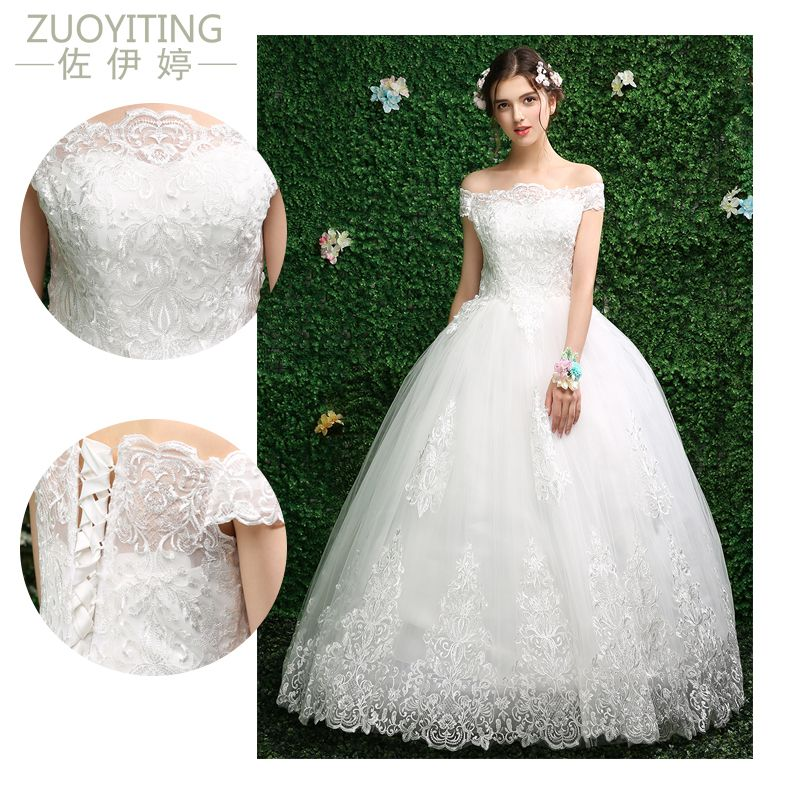 ZUOYITING Robe de Mariage Sexy Boat Neck Bohemian Lace Vintage Boho Beach Wedding Dress 2017 Romantic Wedding Gowns Vestidos de