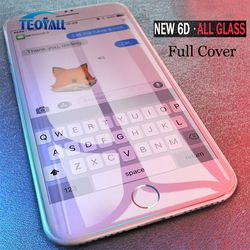TeoYall Pleine Couverture 6D Bord En Verre Trempé Pour iPhone X 7 8 6 6 s Plus Protecteur D'écran Pour iPhone 10 6 6 s 7 Plus Film Protection