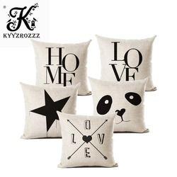 С надписью «Love» домашняя Подушка Чехлы хлопковый льняной черный, белый цвет Чехлы для диванных подушек кровать Nordic декоративная наволочка ...
