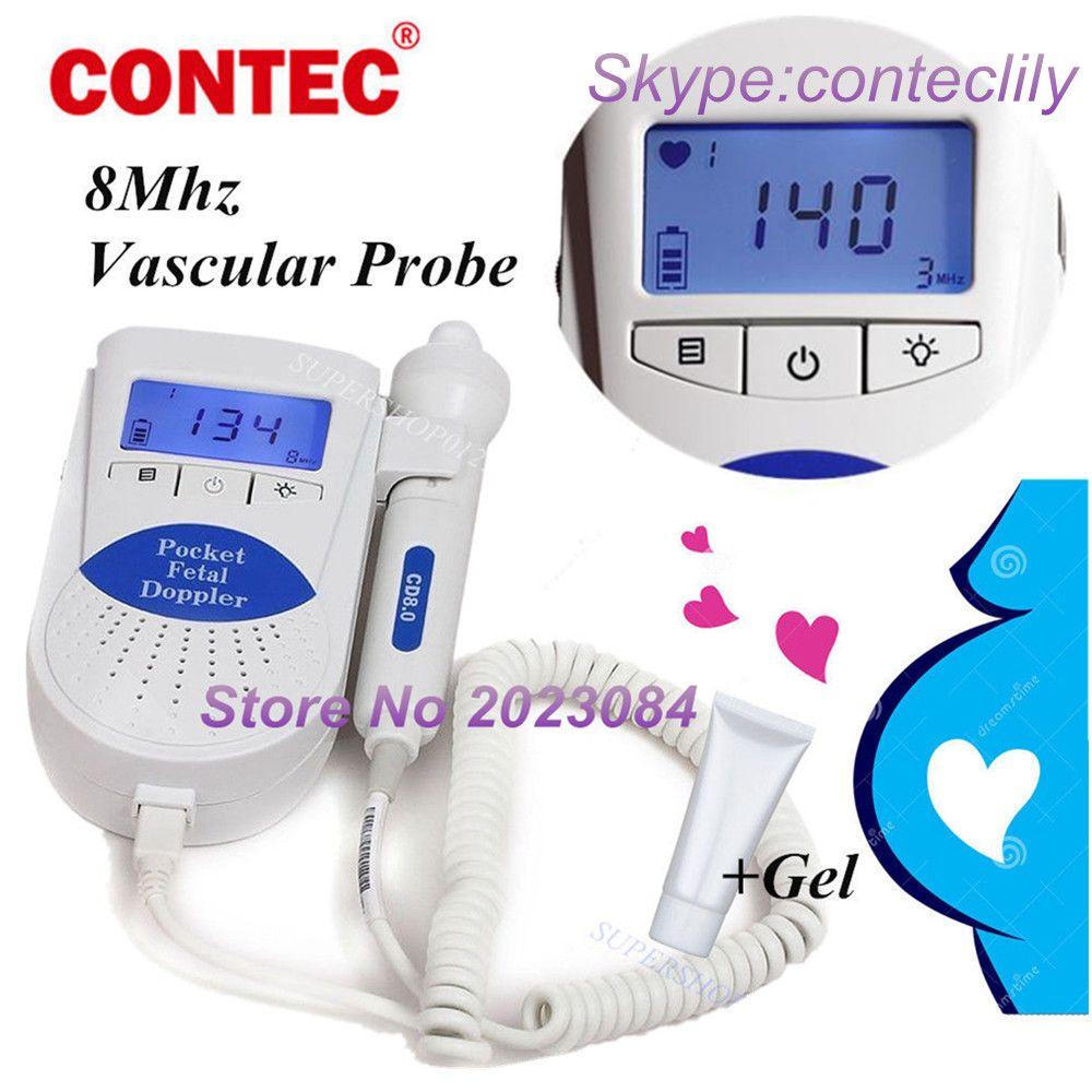 Contec Sonoline B LCD Eingebautem lautsprecher Fetal Doppler Monitor & 8 MHZ Vascular Sonde gel CE