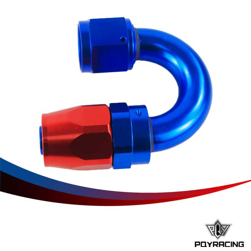 PQY RACING- 10 AN AN-10 180 Degree Aluminum Swivel Hose End Fitting Adapter Oil Fuel Line PQY-SL1018-10-311