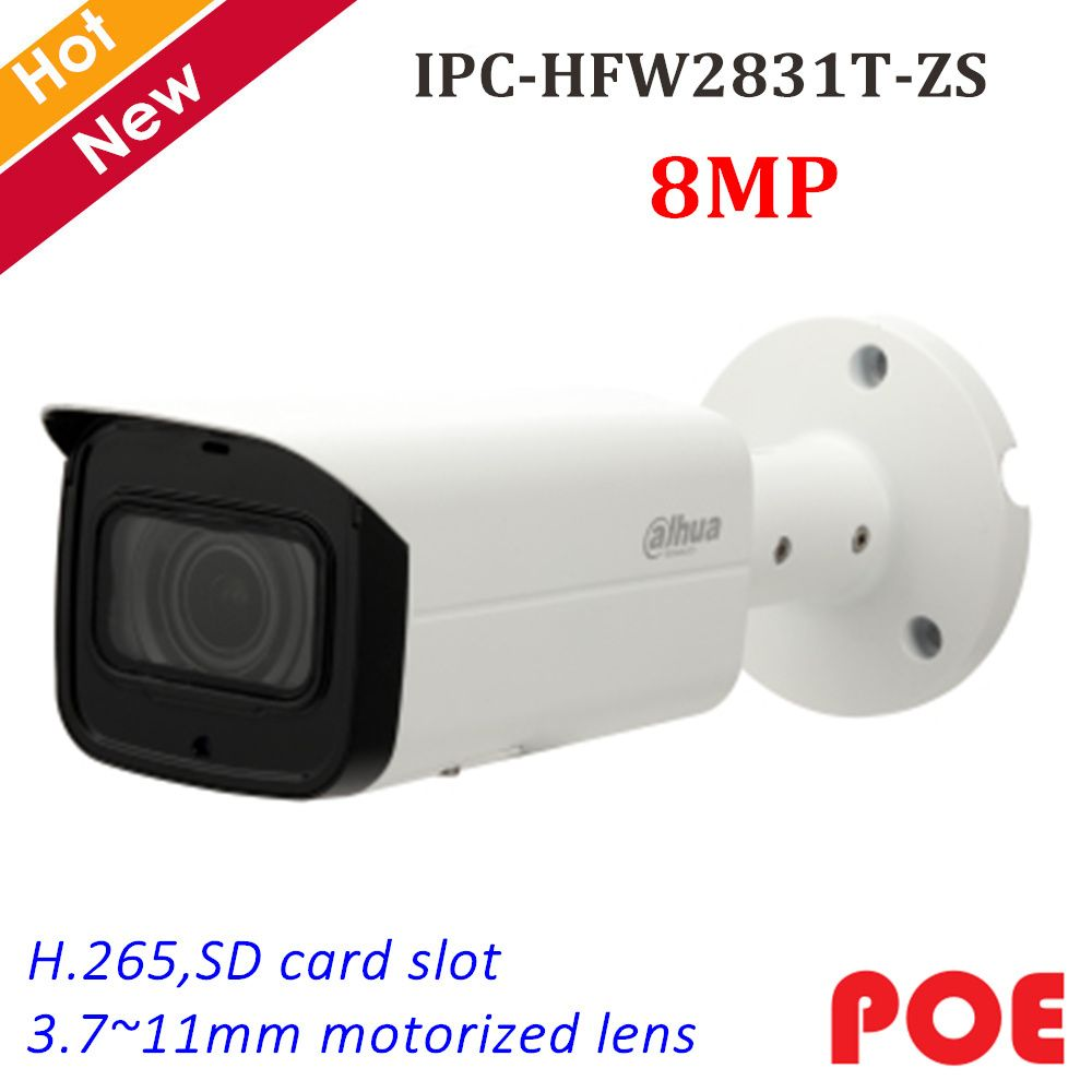 Dahua 8MP IP Kamera IPC-HFW2831T-ZS IR Gewehrkugel Sicherheit Kamera 3,7 ~ 11mm Motorisierte Objektiv Unterstützung SD Karte 128g und POE IP cam System