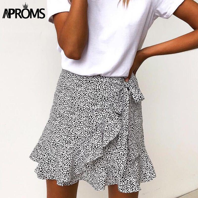 Aproms Multi Dot imprimer Mini jupes courtes femmes été à volants taille haute noeud papillon jupe dames Streetwear Slim fonds Saias 2019