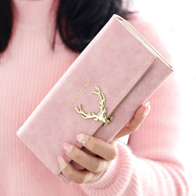 2017 Nouvelle Mode Portefeuille Femelle Femmes Bourse Longue Fermeture Éclair Solide De Couleur de Sucrerie En Métal De Noël Cerfs Portefeuilles Détenteurs de Cartes PU Marque