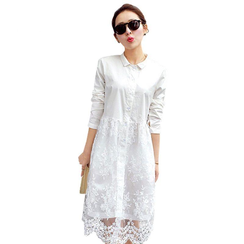 Blanc dentelle robe 2019 nouveauté femmes d'été robe à manches longues mignon robes décontractées Vestidos roupas femininas livraison gratuite