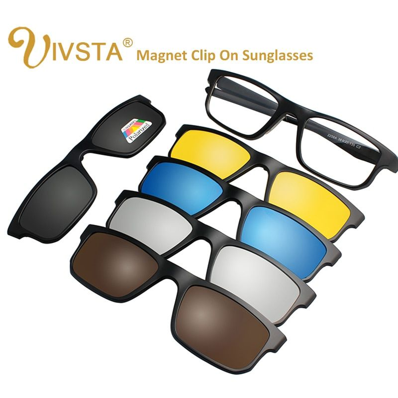 IVSTA 5 Clip sur lunettes de soleil hommes lunettes de soleil à aimant polarisé Clips magnétiques Prescription optique cadre Spectacle femmes lecture