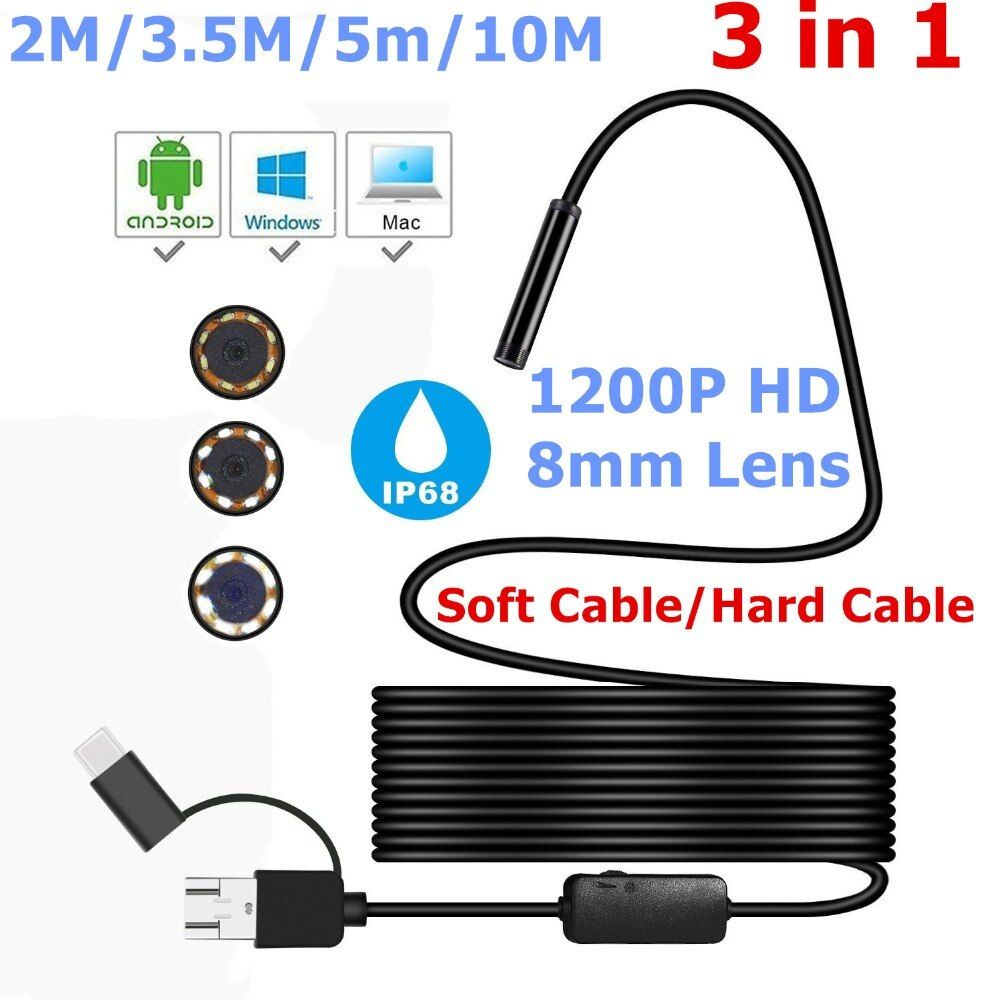 3-in-1 Endoscope Camera Micro USB Type-c USB Inspection Camera 1200P HD IP68 8MM Waterproof Tube Snake Borescope Camera