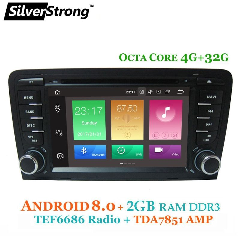 SilverStrong 6686 radio Android 8.0 Car 2 DIN DVD For Audi A3 2003 2004-2011 car dvd gps for Audi with DAB,TPMS,DVR