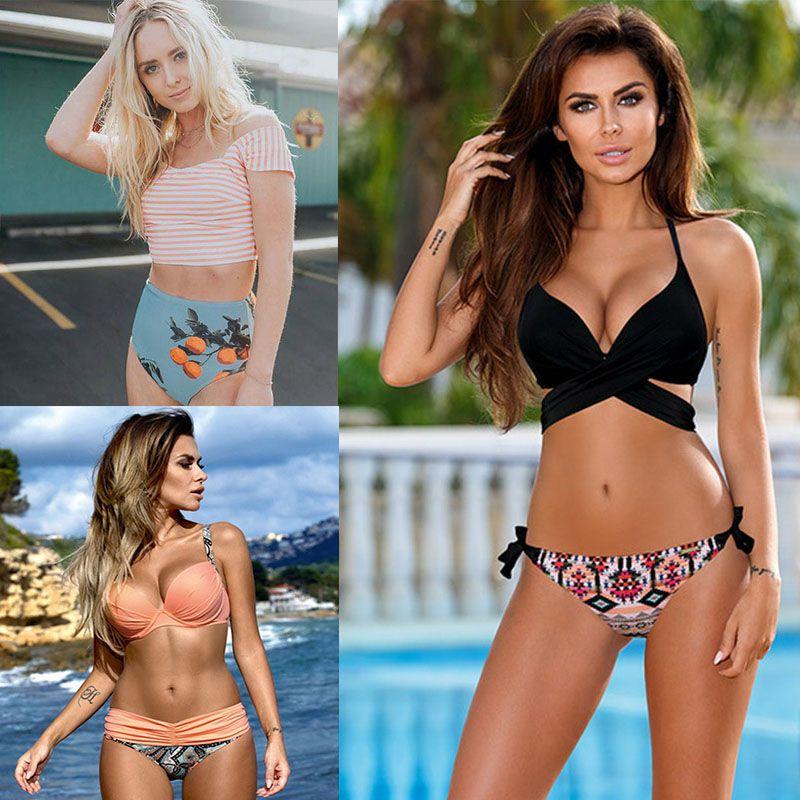 SUNRAINBOW 2019 date Sexy Bikinis femmes maillot de bain maillot de bain bandeau Push Up Bikini ensemble brésilien imprimé maillots de bain Biquini