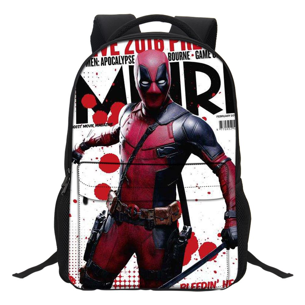 VEEVANV New Marvel 3D Printed Canvas Deadpool 2 Backpack Teenager Manga Style Student Bag A Wonderful Gift from the Movie Fans