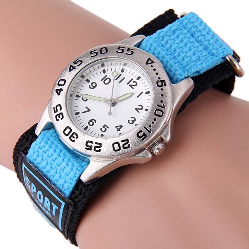 Children's fashion Sport wrist Watch Children Luminous Quartz Watch with Rotatable Bezel Round Dial  Nylon Band
