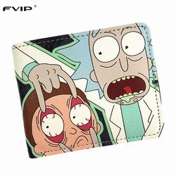 Fvip Comics Rick y Morty cartera con bolsillo de moneda corta monedero