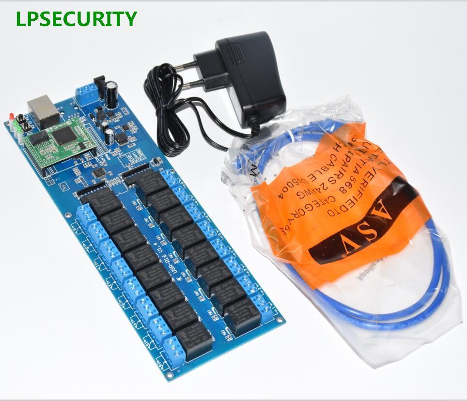 LPSECURITY LAN WAN RJ45 TCP/IP de Red Industrial 16 Canales IP relay board controller/automatización del módulo interruptor de control remoto