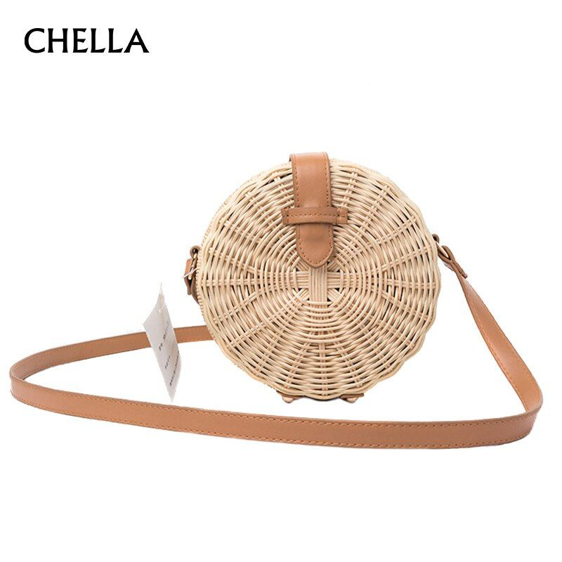 Women Straw Bag Bohemian Bali Rattan Beach Handbag Small Circle <font><b>Lady</b></font> Vintage Crossbody Handmade Kintted Shoulder Bags SS0371