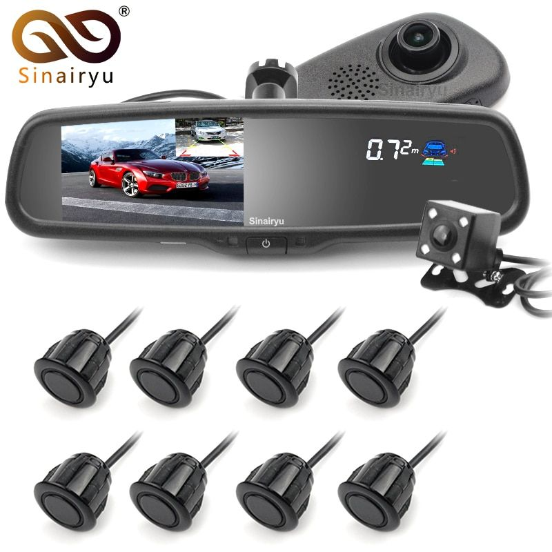 Sinairyu 5 Car Camera DVR Dual Lens Rearview Mirror Video Recorder 1080P Automobile DVR Mirror with Front/Rear 8 Parking sensor