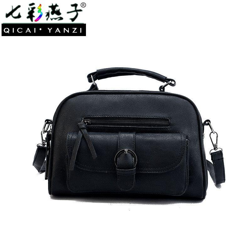 QICAI. YANZI Mujer Mode Handtaschen Frauen Reißverschluss Ziehen Schnalle Tasche Tote Umhängetaschen Dame Gürtel Handtasche Hobos P540