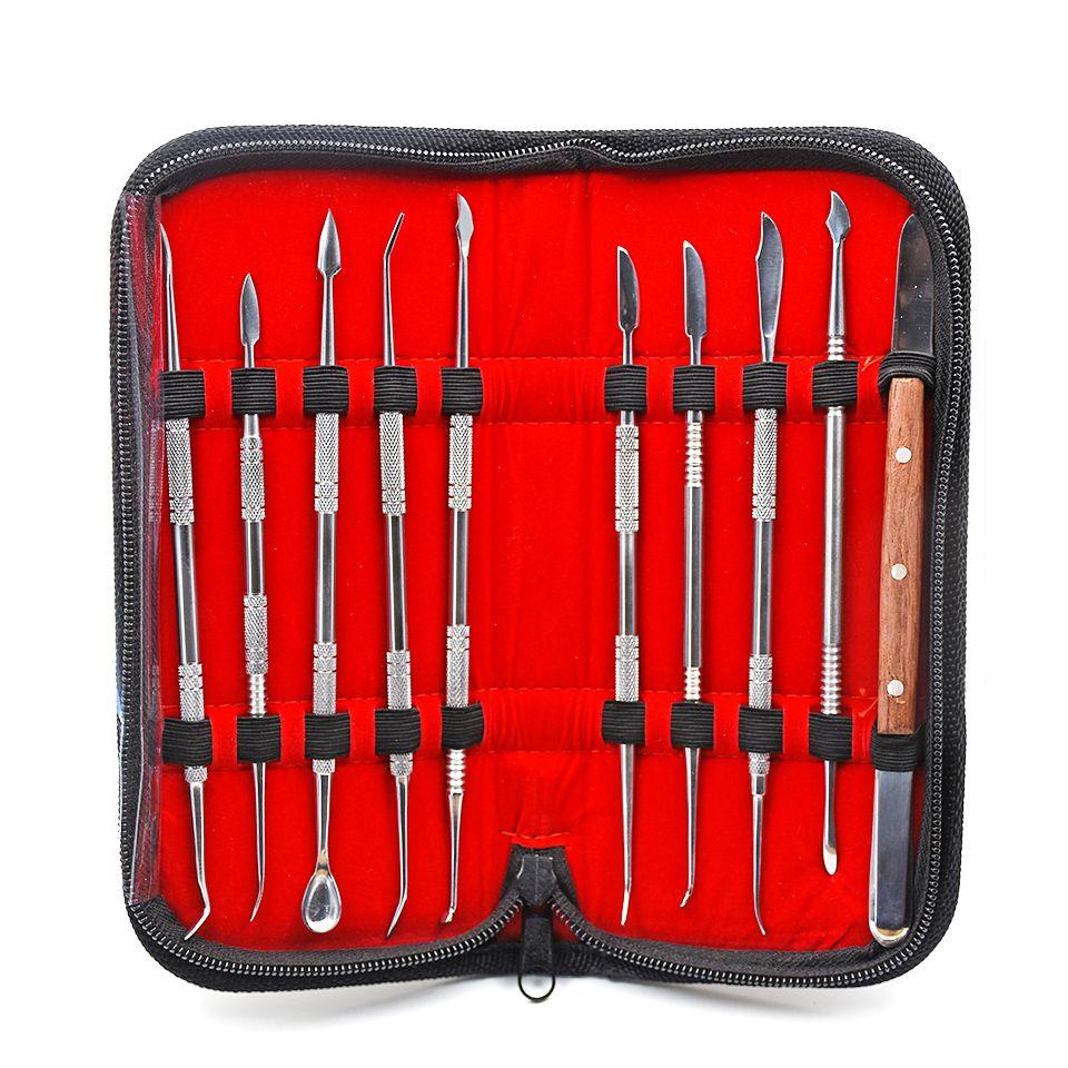 10 pcs Haute Qualité Dentaire Équipement De Laboratoire Cire Sculpture Outils Set Chirurgicale Dentiste Sculpture Couteau Instruments Outil Kit Ensemble