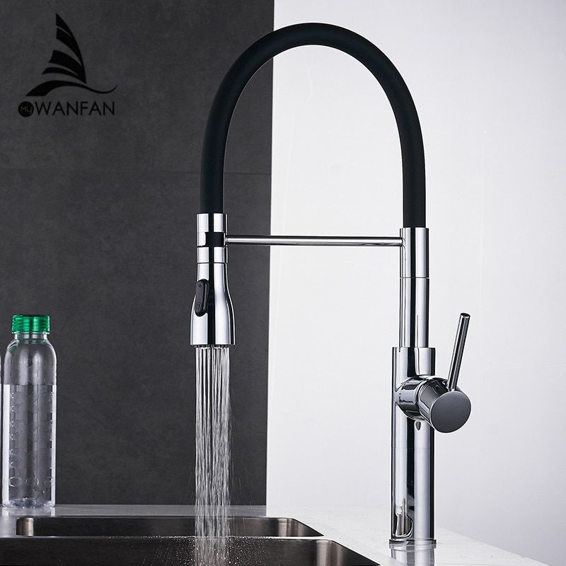 Kitchen Faucets Chrome Kitchen Sink Crane Deck Mount Pull Down Dual Sprayer Nozzle Torneira De Cozinha Mixer Water Taps LK-9910