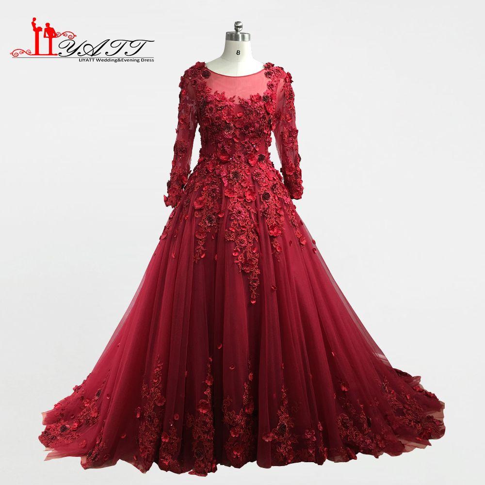 2018 New Arrival Spring Burgundy O-neck Long Sleeves 3D Flowers Ball Gown Formal Long Evening Dresses Custom Made