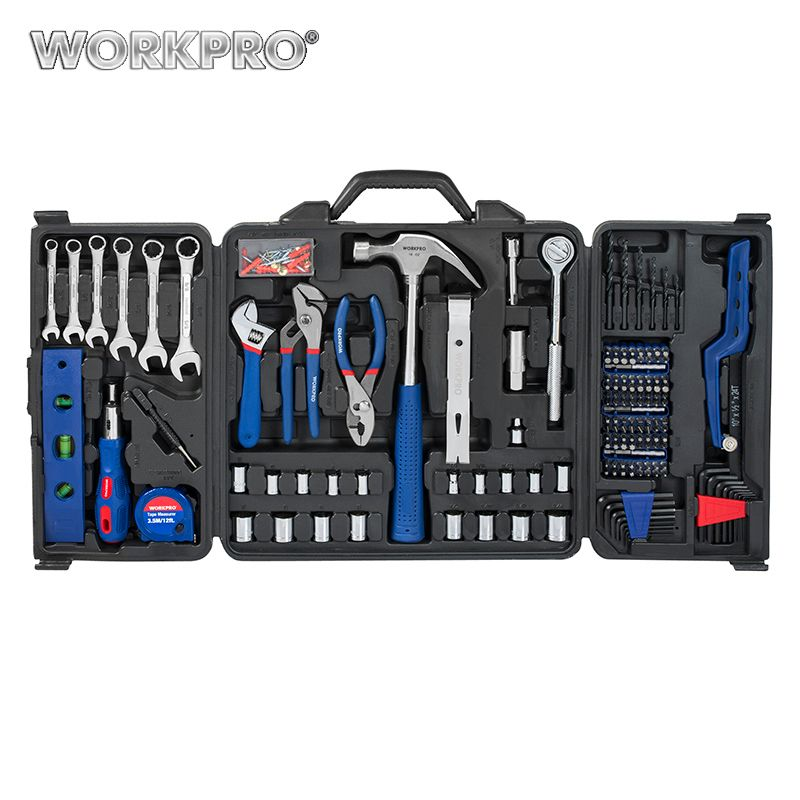 WORKPRO 201PC Home Tool Set Ratchet Sockets Spanner adjustable Wrenches Pliers Screwdrivers Hammer Measure tape Mini Saw
