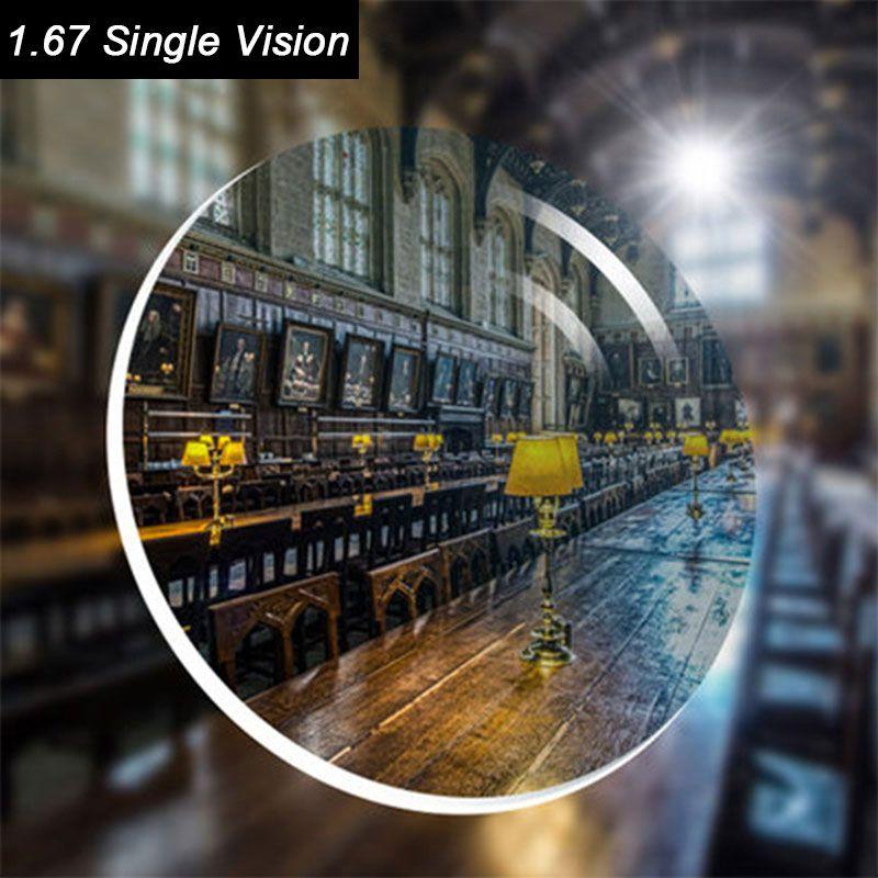 Prescription optique 1.67 lentilles de prescription en résine UV à Vision unique asphérique HC TCM pour l'astigmastisme myopie presbytie