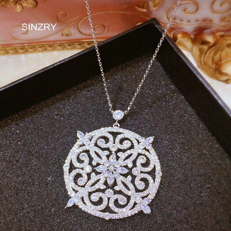Новые белые фианит микро-установка полые цветок большой Кулон Винтаж ожерелье-ошейник для женщин