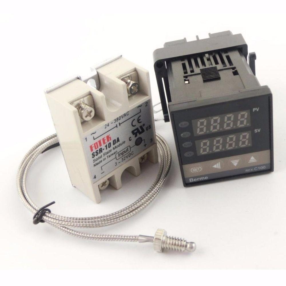 Rex-c100fk02-v * pid Температура контроллер Набор с 10da/25DA/40DA/50da/75da твердотельные реле и 1 м K Тип термопары