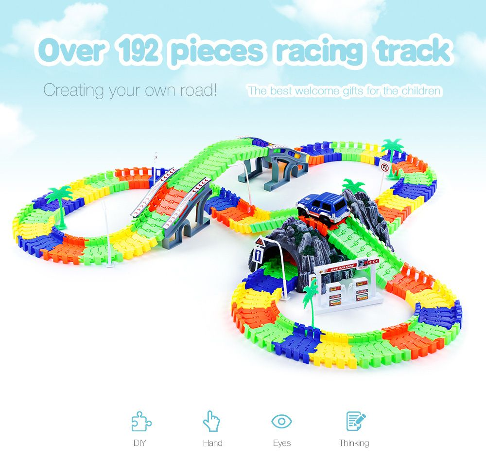 2017 Hot Sale Glow Racing Track Set 28/96/144/192PCS Race Track DIY Roller Coaster Track Assembly Flexible Track Vehicle Toys