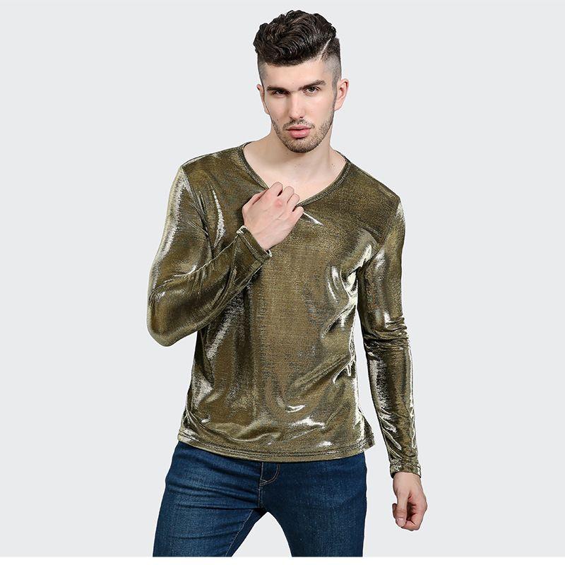 Новое поступление 2017 года футболка Для мужчин с длинным рукавом Осенняя мода Для мужчин S черный из искусственной кожи футболка Повседневно...