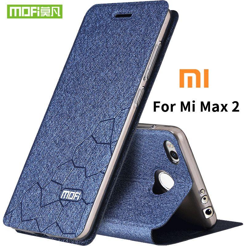 Xiaomi mi max 2 cas souple en silicone retour flip en cuir couverture Mofi d'origine xiaomi mi max2 cas dur TPU fundas téléphone sac capas