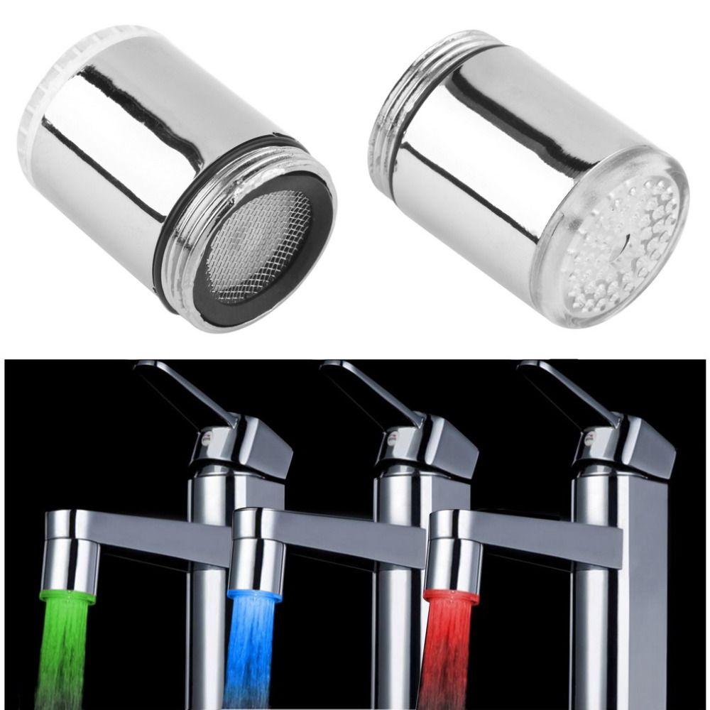 1 stück LED-Licht Wasserhahn Anzapfung Köpfe Temperatursensor RGB Glow Wasserhähne Dusche Stream badarmaturen 3 Farbwechsel heißer 2017