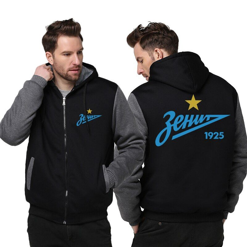 USA Size FC Zenit St Petersburg Logo Hoodie Fashion Russian Premier League Coat Zipper Winter Fleece Thicken Jacket Sweatshirts