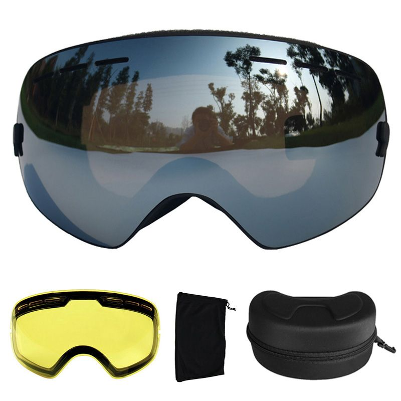 Ski Goggles Anti-fog UV400 Spherical Ski Glasses Ski Snowboard Goggles Double Lens Ski Eyewear With Extra Lens and Box