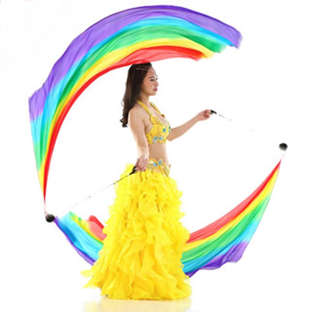 Новый танец живота Шелковый Veil пои стример 1 пара = 2 шт. шелк Фата + 2 шт. POI цепи мяч- доставка S/M/L/XL