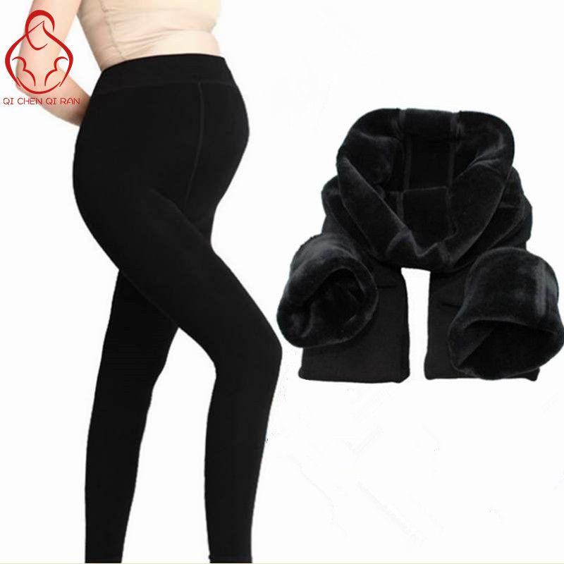 Invierno Ropa de Maternidad, Además de Terciopelo Engrosamiento Pantalones de Las Polainas Para Las Mujeres Embarazadas Calientes de Liga de Alta Cintura Pantalones Embarazo