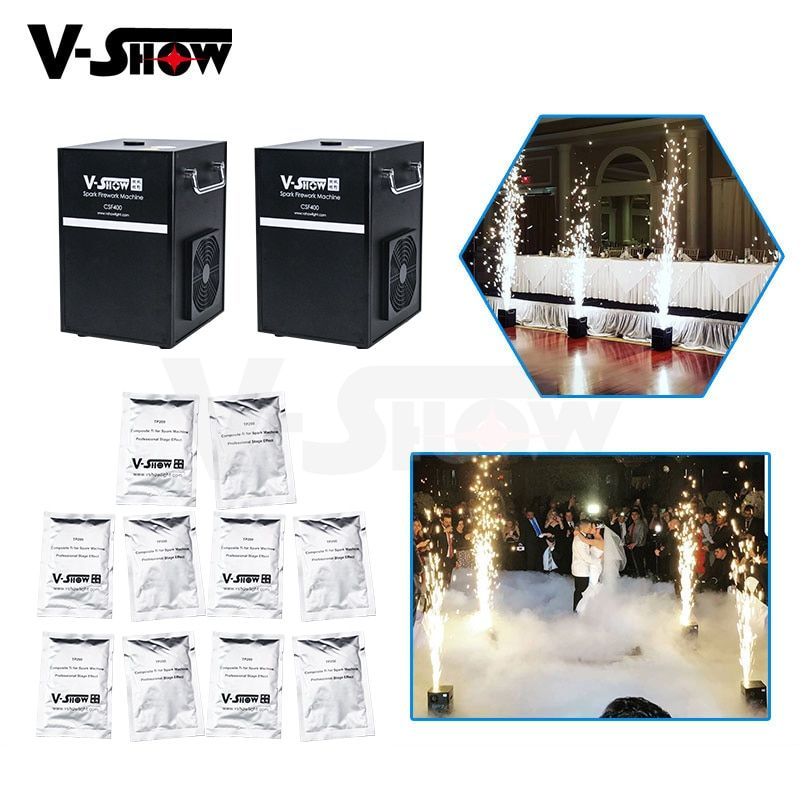 2pcs And 10 Bags Powder 400W Cold Spark Firework Machine Dmx And Remote Control Smokeless Sparkular Wedding Firework Machine