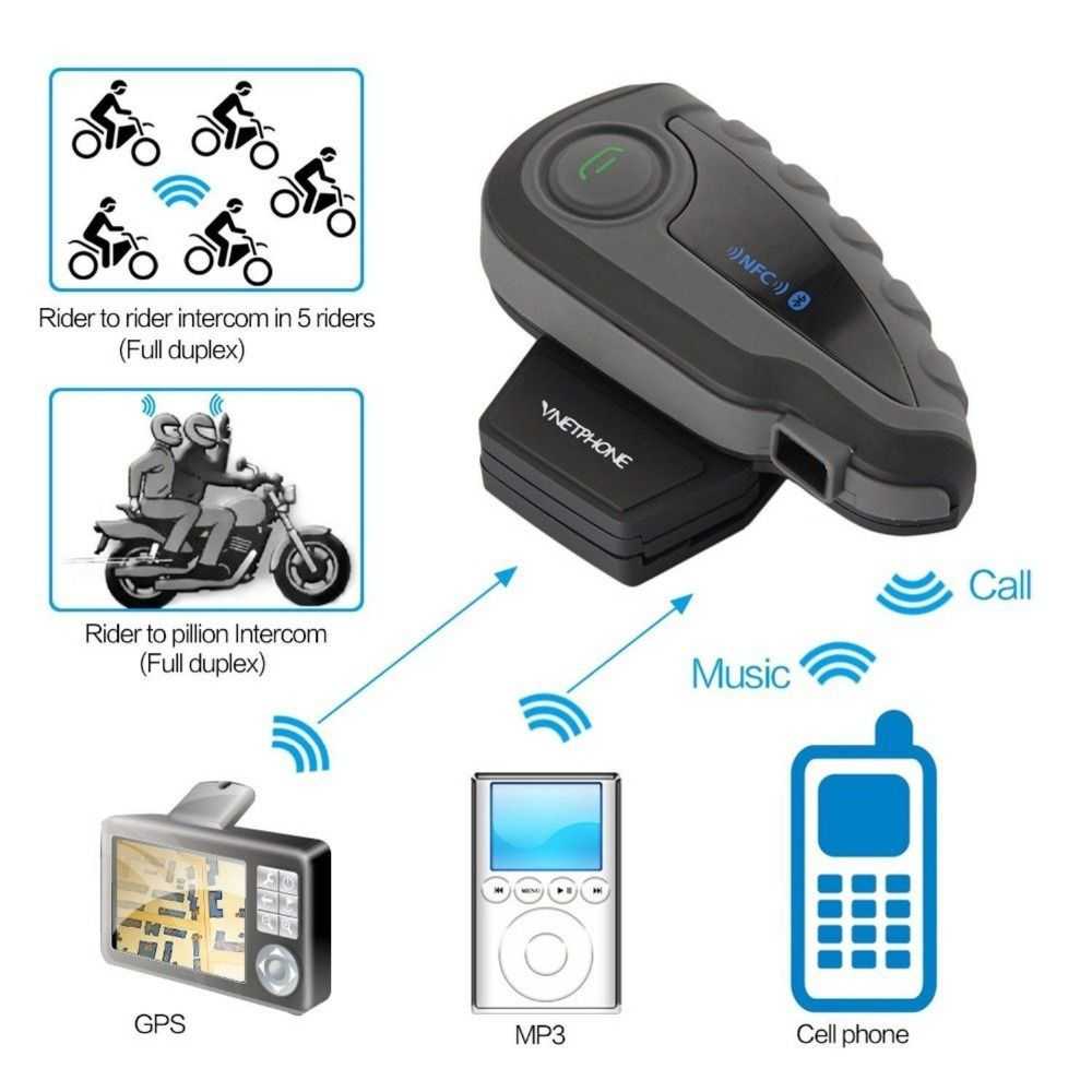 V8 1200 м мотоцикл BT Bluetooth Шлем Интерком домофонных гарнитура с Дистанционное управление FM 5 всадников intercomunicador