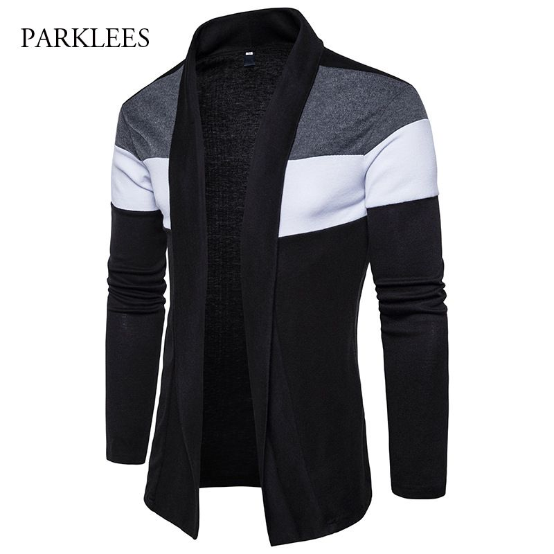 Shawl Collar Cardigan Men Pull Homme 2017 Fashion Autumn Slim Fit Long Mens Cardigans Casual Hit Color Knitted Cardigan Sweater